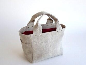 リネン 帆布 シンプル ミニ トート 生成りの画像