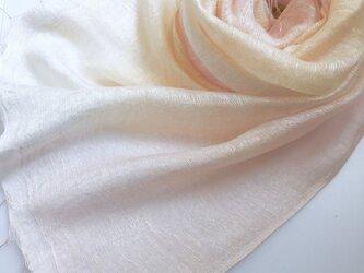 二重紗シルク*薄桜色×淡黄色*ストールの画像