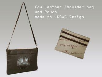 上質な牛革 パソコンバッグ PCバッグ serfes ipadのケース ショルダーバッグ ダークブラウン  ポーチ付きの画像