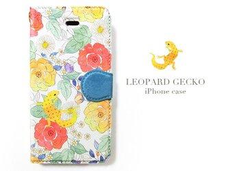 ヒョウモントカゲモドキとお花のiPhoneケースの画像