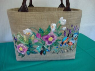 birds & flowers bag*小鳥と花のバッグの画像