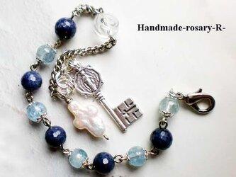 伝統の手編みロザリオブレスレット*アクアマリン&サファイヤ&天国の鍵メダイ&水晶薔薇の画像