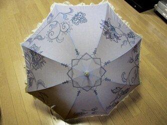 わけ有り・日傘(花更紗・青色・フリル布付き)の画像