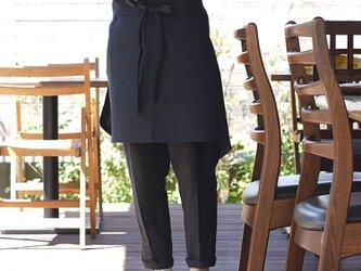 中厚 リネン エプロン 両脇2ポケット ワーク サロン エプロン ショートエプロン/ブラック z001c-bck2の画像