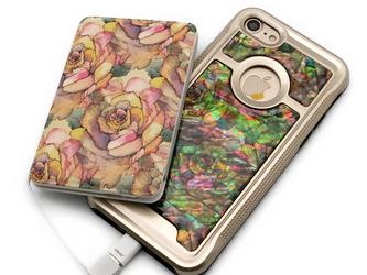 iPhoneケース&モバイルバッテリー お揃いセット (アンティークローズ・ゴールドタイプ)<螺鈿アート>【ギフト対応】の画像