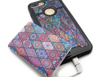 iPhoneケース&モバイルバッテリー お揃いセット (ピンクモロッコタイル・ブラックタイプ)の画像