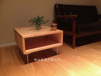 桧が香るセンターテーブル/ローテーブル 脱着可能な脚で使い方を選びません。の画像