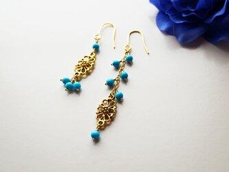 プチオリエンタル ターコイズピアス Petit Oriental Turquoise earrings P0024の画像