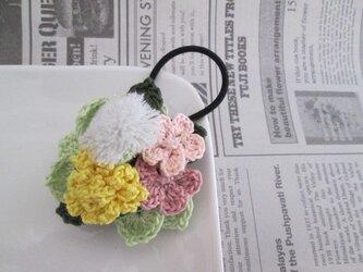 たんぽぽと綿毛とピンクお花ヘアゴムの画像