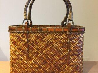 網代編みバッグ(フタなし•色付き)の画像