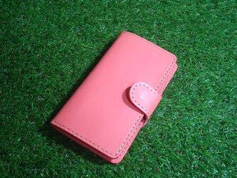 ♪本革 iPhone8 7 6 6S 手帳型レザーケース ピンクオレンジ♪の画像