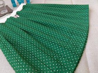 【size110】タックギャザースカート*グリーン/緑/水玉/ドット/ストライプの画像