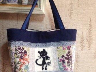 PJC黒猫刺繍&北欧生地 帆布 パッチワークトートバッグの画像