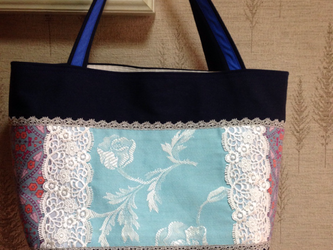 フランス ポピーの花刺繍 帆布 パッチワークトートバッグの画像