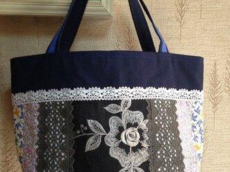 大きなお花 PJC刺繍生地 帆布 パッチワークトートバッグの画像
