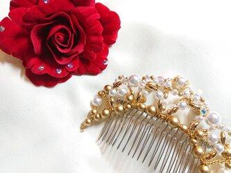 ☆バレエ バラとゴールドの髪飾り 赤☆の画像