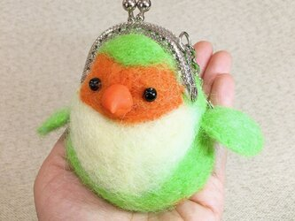 羊毛フェルト鳥財布緑2の画像