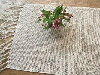 手織り麻の細長のテーブルランナー(1)の画像