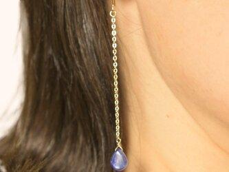 天然石 ラグジュアリーカイヤナイトロング Laxuary Kyanite Long earrings P0069の画像