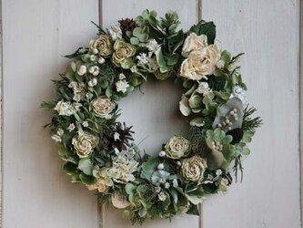 スプレーバラのリース 緑と白の画像