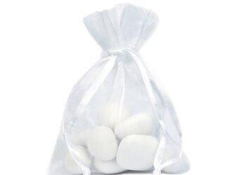 20枚入り オーガンジー巾着袋 【ホワイト 白色】 アクセサリーバック ラッピング 無地 シンプル ギフトの画像