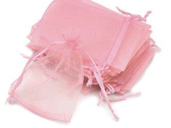 20枚入り オーガンジー巾着袋 【ピンク 桃色】 アクセサリーバック ラッピング 無地 シンプル ギフトの画像