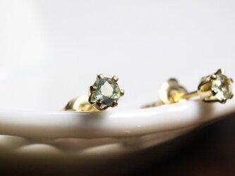 《mignon》グリーンサファイアのスタッドピアス 3mm【K14gf】の画像