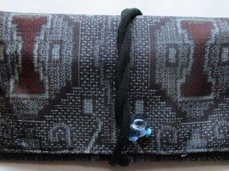 送料無料 着物リメイク 色大島紬で作った和風財布・ポーチ 2478の画像