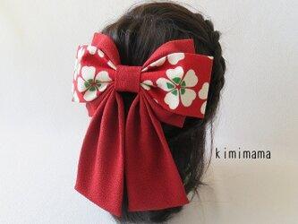 髪飾り 縮緬 Wリボンはいからさん(桜&深赤)着物・袴・浴衣・卒業式・和装小物     の画像