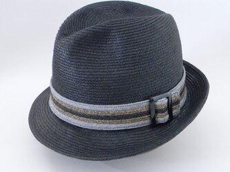 ペーパー素材のブレードの中折れ帽。夏の定番にかぶるだけでお洒落になれるソフトハット【PL1489-Black】の画像