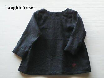 saize130・リネンチュニックブラウス(ブラック)の画像
