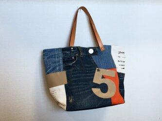 新作☆デニム&倉敷8号帆布トートバッグ Mプラスサイズ  earthキャメル革5の画像