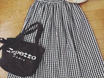 【受注制作:XXS〜Lサイズ対応】背が低い人のためのギンガムチェックのスカートの画像