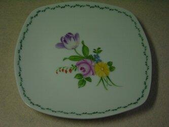 ケーキ皿   (薔薇とチューリップのブーケ)の画像