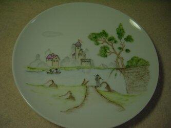 丸皿   風景画(釣り人)の画像
