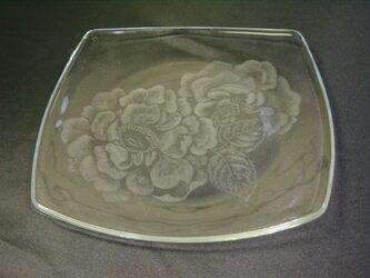 グラスリッツエン   角皿  薔薇画の画像