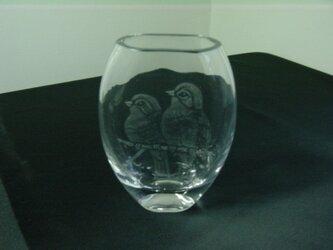 グラスリッツエン  一輪挿し 2羽の小鳥の画像