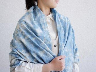 エシカルヘンプ平織ストール 正藍籠染め縞 浅葱色の画像