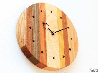 寄せ木の壁掛け時計 円形35の画像