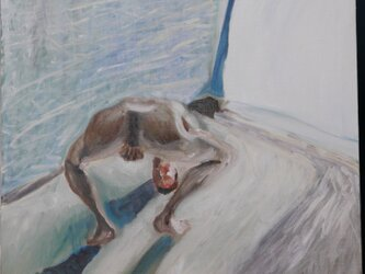 油彩 F15 「きらいだあああ」真昼の光の中の裸夫 4の画像