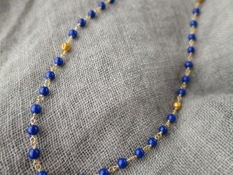 K18 Lapis lazuli・Gold beads Necklaceの画像