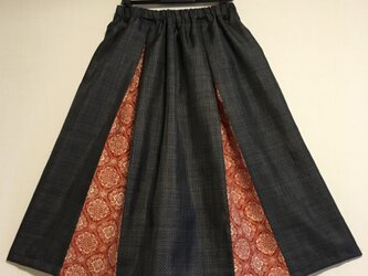 着物リメイク 紺色大島紬と染紬のボックスギャザースカートの画像