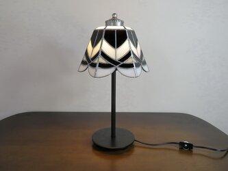 モノトーン・ブラックのクロスライン(ステンドグラスランプ)ガラス 照明・ Lサイズ・11の画像