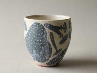 粉引フリーカップ きのこ柄 縦長の画像