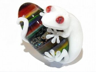 守【 kengtaro / ケンタロー 】 白 守宮 ヤモリ ボロシリケイトガラス ペンダント トップの画像