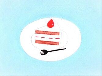 【再販】「ショートケーキ」イラスト原画 ※額縁入りの画像