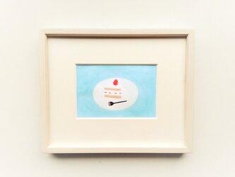 原画「ショートケーキ」水彩イラスト ※木製額縁入りの画像