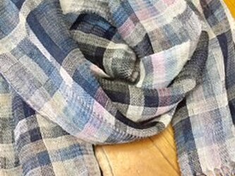 ◇手織り/リネンストール/陽避けの画像