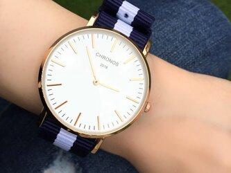 *ボーダー ペアウォッチ* カジュアル腕時計 <k-002>の画像