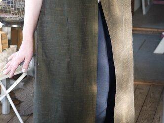 久留米絣渋めの茶系グリーン色の羽織物の画像